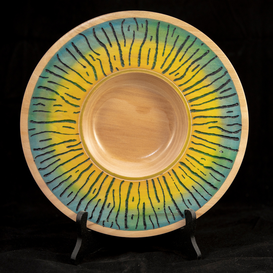 326/365 Yellow and blue wide rimmed shallow bowl