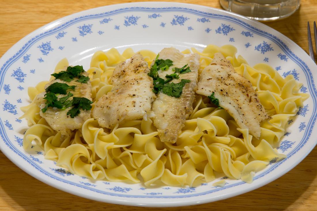 208/365 Spiced Cilantro Flounder and Egg noodles